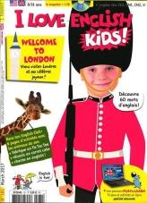 I Love english for kids est le magazine d'initiation à l'anglais, dès l'école primaire. Grâce à son abonnement, votre enfant partira sur de bonnes bases en anglais avec chaque mois : des BD rigolotes, des jeux, des reportages et un CD pour travailler l'oral et un parcours en ligne PLay & Learn avec de nombreux jeux et exercices pour s'entrainer à son rythme. (source iloveenglish.com)