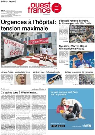 Ouest-France est un quotidien régional français, édité à Rennes et vendu dans les régions de l'ouest de la France, ainsi qu'à Paris. (source wikipedia.org)