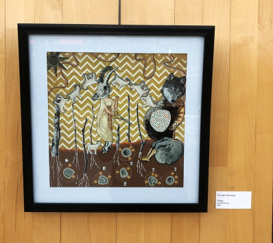 Les sept chevreaux, Collage 41x41cm 2017